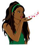 Woman-Blowing-Hearts-And-Kisses